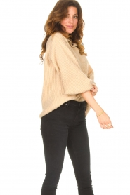 Be Pure |  Knitted sweater with polo collar Lola | camel  | Picture 4