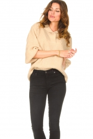 Be Pure |  Knitted sweater with polo collar Lola | camel  | Picture 2