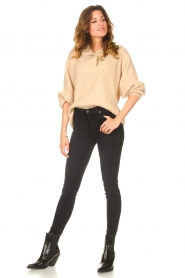 Be Pure |  Knitted sweater with polo collar Lola | camel  | Picture 3