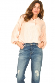 Be Pure |  Knitted sweater with polo collar Lola | nude  | Picture 2