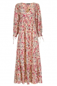 Antik Batik | Bloemenprint jurk Annie | Rood  | Afbeelding 1