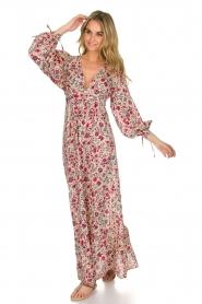 Antik Batik | Bloemenprint jurk Annie | Rood  | Afbeelding 2