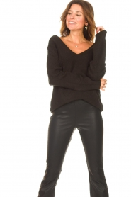 Be Pure |  Knitted V-neck sweater Lilly | black  | Picture 2