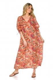 Antik Batik | Maxi-jurk Kalao | oranje/rood  | Afbeelding 2