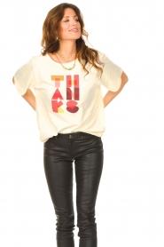 ba&sh |  T-shirt with imprint Vanea | natural   | Picture 4