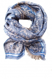 Becksöndergaard |  Scarf with leopard print and glitters Esther | blue  | Picture 1