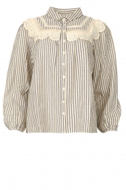 ba&sh |  Striped blouse with lace Anael | blue  | Picture 1