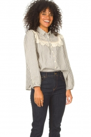 ba&sh |  Striped blouse with lace Anael | blue  | Picture 6