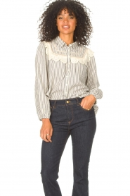 ba&sh |  Striped blouse with lace Anael | blue  | Picture 5
