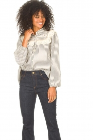 ba&sh |  Striped blouse with lace Anael | blue  | Picture 4