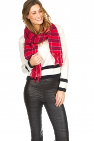 Becksöndergaard |  Checkered scarf Easton | red  | Picture 2