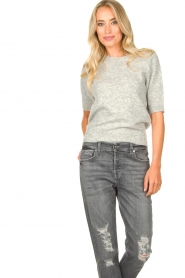 JC Sophie |  Soft short sleeve sweater Estee | grey  | Picture 2