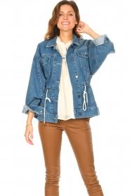 ba&sh |  Denim jacket with drawstrings Edson | blue  | Picture 2