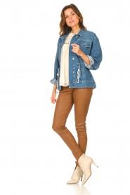 ba&sh |  Denim jacket with drawstrings Edson | blue  | Picture 3