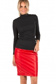NIKKIE |  Leather pencil skirt Maisy | red  | Picture 2