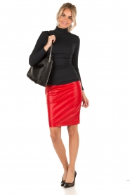 NIKKIE |  Leather pencil skirt Maisy | red  | Picture 3