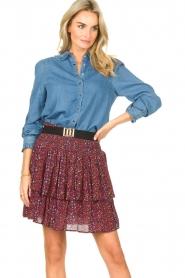 ba&sh | Denim blouse met ruches Lilas | blauw  | Afbeelding 2