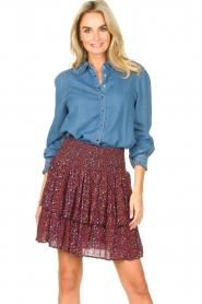 ba&sh | Denim blouse met ruches Lilas | blauw  | Afbeelding 5