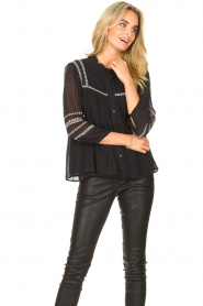 ba&sh |  Blouse with embroided details Celeste | black  | Picture 4
