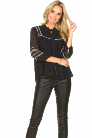 ba&sh |  Blouse with embroided details Celeste | black  | Picture 2