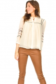 ba&sh |  Blouse with embroided details Celeste | ecru  | Picture 5