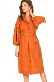 Notes Du Nord |  Midi dress with matching waistbelt Velvet | brown  | Picture 2
