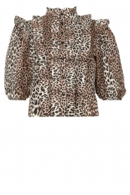 Notes Du Nord | Ruches blouse met luipaardprint Vicky | dierenprint   | Afbeelding 1