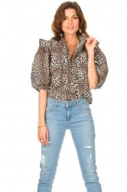 Notes Du Nord | Ruches blouse met luipaardprint Vicky | dierenprint   | Afbeelding 2