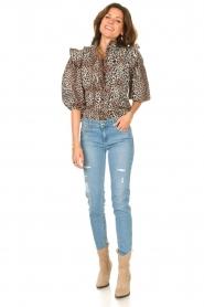 Notes Du Nord | Ruches blouse met luipaardprint Vicky | dierenprint   | Afbeelding 3