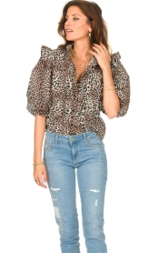 Notes Du Nord | Ruches blouse met luipaardprint Vicky | dierenprint   | Afbeelding 4