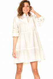 Notes Du Nord |  Broderie dress with ruffles Vivian | white  | Picture 5