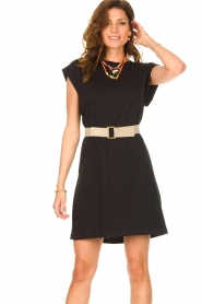Notes Du Nord |  Dress with padded sleeve cuffs Porter | black   | Picture 2