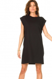 Notes Du Nord |  Dress with padded sleeve cuffs Porter | black   | Picture 4