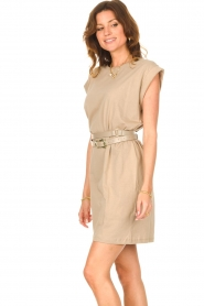 Notes Du Nord |  Dress with padded sleeve cuffs Porter | beige  | Picture 8