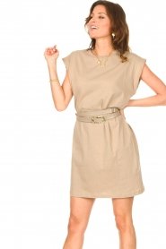 Notes Du Nord |  Dress with padded sleeve cuffs Porter | beige  | Picture 7