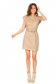 Notes Du Nord |  Dress with padded sleeve cuffs Porter | beige  | Picture 3