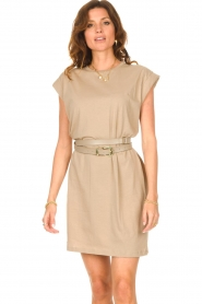 Notes Du Nord |  Dress with padded sleeve cuffs Porter | beige  | Picture 2
