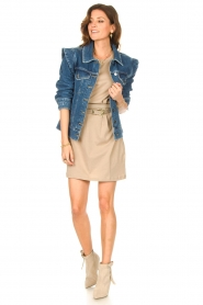 Notes Du Nord |  Dress with padded sleeve cuffs Porter | beige  | Picture 4