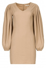 Notes Du Nord    Crêpe dress with puff sleeves Venus: beige    Picture 1