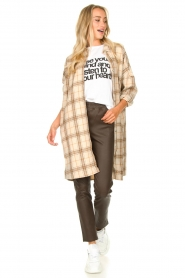 JC Sophie |  Checkered wool blouse Emmylou | beige  | Picture 3