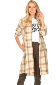 JC Sophie |  Checkered wool blouse Emmylou | beige  | Picture 4
