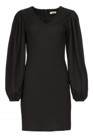 Notes Du Nord |  Crêpe dress with puff sleeves Venus: black  | Picture 1