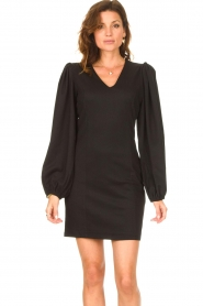 Notes Du Nord |  Crêpe dress with puff sleeves Venus: black  | Picture 6