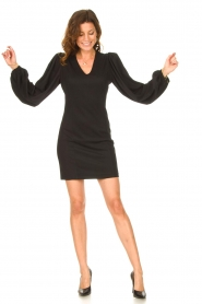 Notes Du Nord |  Crêpe dress with puff sleeves Venus: black  | Picture 3