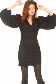 Notes Du Nord |  Crêpe dress with puff sleeves Venus: black  | Picture 2