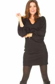Notes Du Nord |  Crêpe dress with puff sleeves Venus: black  | Picture 5