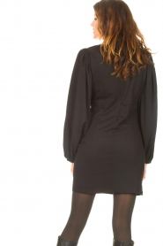 Notes Du Nord |  Crêpe dress with puff sleeves Venus: black  | Picture 8