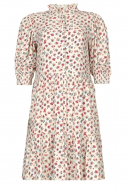 Notes Du Nord |  Ruffle dress with floral print Violet | white  | Picture 1