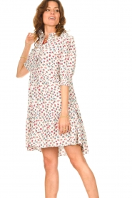 Notes Du Nord |  Ruffle dress with floral print Violet | white  | Picture 5