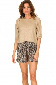 Notes Du Nord |  Leopard printed short with belt Vicky | animal print  | Picture 6